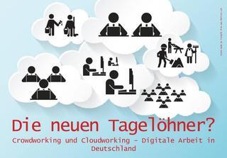 Flyervorderseite mit Wolken in denen verschiedene Arbeiter abgebildet sind