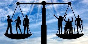 Waage mit Menschen, als Symbol für Gleichheit