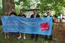 gemeinsam mit den Gewerkschaftern für bessere Arbeitsbedingungen bei Amazon